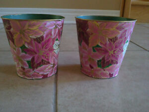 Brand new set of 2 pink floral painted metal planter pot London Ontario image 2
