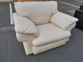 Cream Leather Single Chair