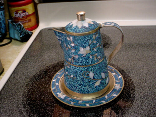 Vintage Serving Pot & Liner - Silver Metal, Turquoise with Mother of Pearl Inlay