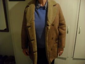Ladies sheepskin coat, size 14, nutmeg colour, in good condition