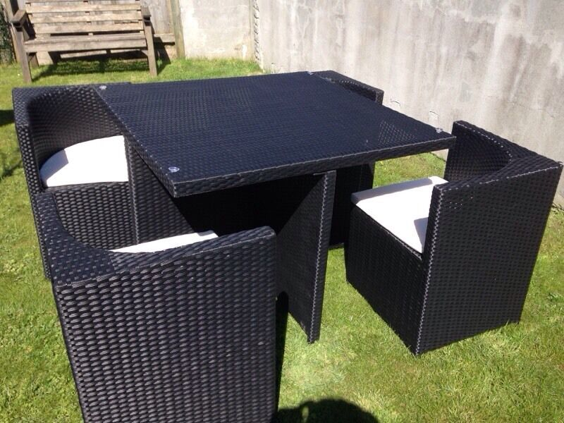 Rattan cube chairs and table set in black in shepton for Outdoor furniture gumtree