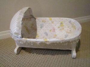 Vintage white wicker doll rocking cradle