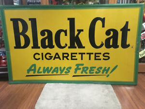 Large 1950 Black Cat Cigarette Embossed Metal Sign - Rare