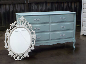 FRENCH PROVINCIAL 6 DRAWER DRESSER & MIRROR - AQUA LAGOON
