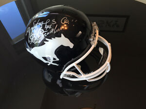 Henry Burris & Drew Tate signed helmet with Sinopoli as QB Mint