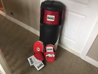 Lonsdale boxing set including medium punch bag fresh barely used and pads and junior gloves