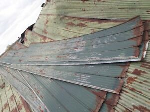 Old used barn metal roofing green