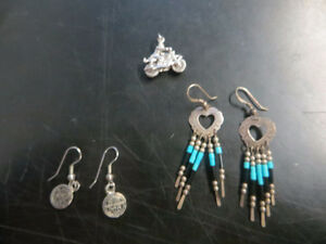 Harley Earrings and Silver pendant