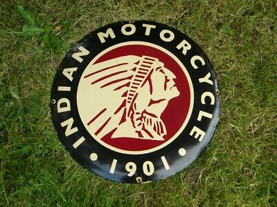 """VINTAGE INDIAN MOTORCYCLE PORCELAIN SIGN ~19-1/2"""" SCOUT ROADMASTER CHIEF FOUR V2"""