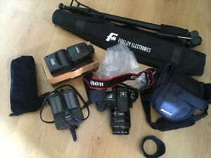 Canon EOS 20D, flash new, charger, 2 batteries, case, stand new