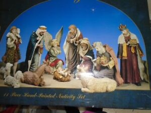 11 Piece Hand Painted LARGE Nativity for sale - NEW