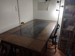 WOODEN BAR TABLE, 4 STOOLS, $300, OBO