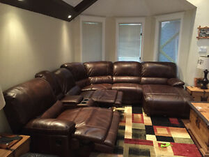 Massive 6 pieces brown leather sectional