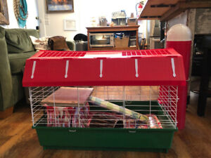 """Adorable """"Barn"""" Guinea Pig Cage +all supplies! Almost brand new!"""