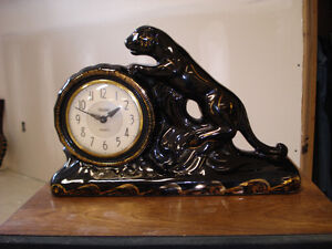 1950'S Black Panther Set Clock and Vases