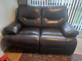 DFS brown leather recliner sofa 2 seater