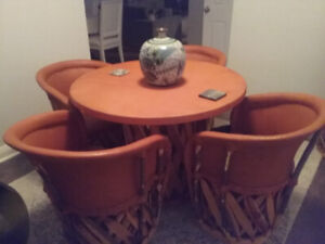 Mexican table with four chairs.  Hand made. Outdoor and indoor