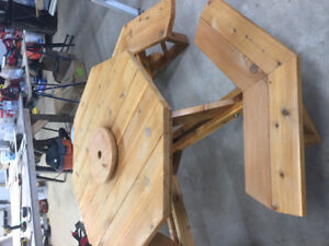 Red cedar built swing and picnic table