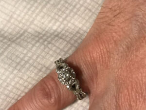 """Vera Wang """"Love Collection"""" white gold engagement ring"""