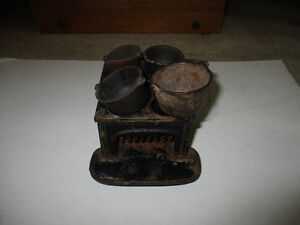Vintage Miniature Cast Iron Stove with Pots
