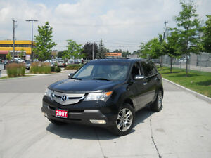 2007 Acura MDX, AWD,7 Passangr, Black on black Leather, Low km,