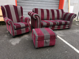 Striped Fabric 3 Seater Sofa, Wingback Chair and Footstool by DFS