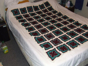 Beautiful Hand Crocheted Afghan #3 - Maroon & Teal - $40.00 Belleville Belleville Area image 1