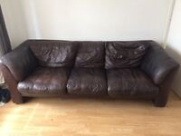 3 seater brown leather settee/sofa