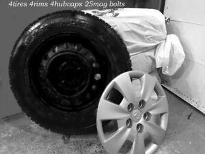 4 Goodyear winter tires 195\65\15 +rims+hubcaps for Hyundai