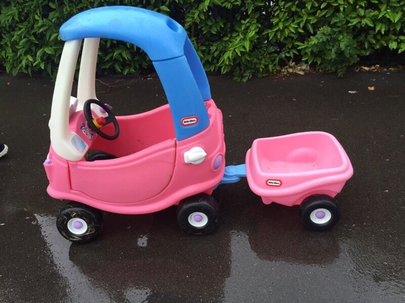 Pink little tikes cosy coupe car and trailer rrp 80 ride for Little tikes motorized vehicles