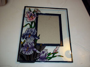 "Unique Stained Glass Picture Frame. It measures 9"" x 7 1/4"""
