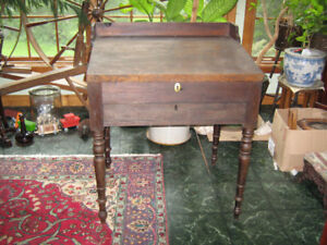 Antique Walnut Slant Top Desk with Drawer early 1900
