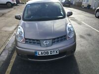 A 2008 Nissan Note Tekna, 1.6, beige colour, Automatic petrol with 9 month Mot.