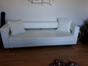 Off white Italian leather sofa, love seat, plus 5 piece dinning