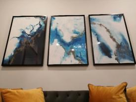 Stunning large painting/prints 3x set framed wall art