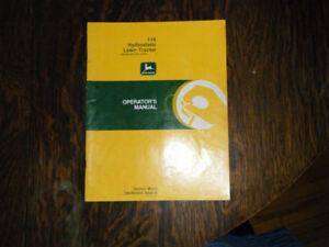 John Deere 116 Hydrostatic Lawn Tractor Operators manual