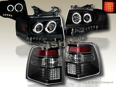 07-11 FORD EXPEDITION 2 HALO CCFL LED PROJECTOR HEADLIGHTS + LED TAIL LIGHTS BLK