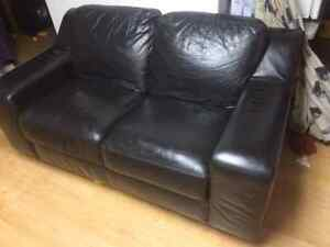 Leather love seat  Strathcona County Edmonton Area image 1