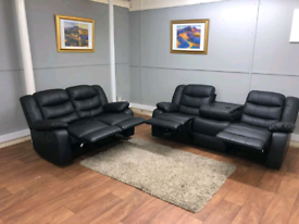BLACK 3+2 Seater Sorrento Leather Recliner Sofas With Cupholders