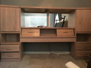Solid Oak Head Board with Storage Compartments