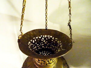 antique MOROCCAN HANGING LANTERN pierced filigree brass PERSIAN Kitchener / Waterloo Kitchener Area image 5