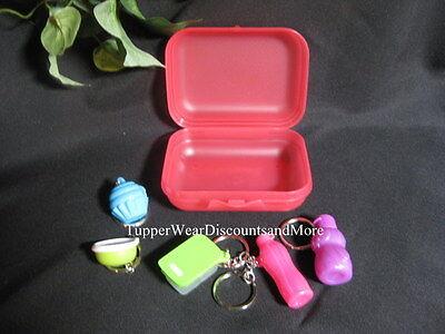 Tupperware NEW 5 Keychain Keychains Kit Eco Bottle Cupcake Blossom Bowl PENGUIN