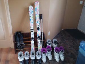 120 and 130 kids skis