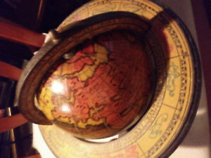OLD WORLD GLOBE WITH MAP