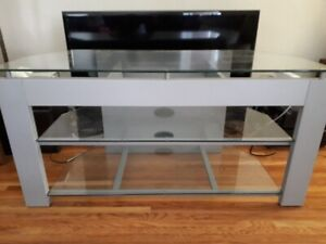 Silver with glass TV entertainment stand in excellent condition