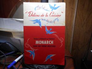 1-LIVRE ANTIQUE,DELICES DE LA CUISINE MONARCH,1940.