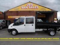 2012 62 FORD TRANSIT T350 CREW CAB TIPPER T350 DIESEL 2012/62 REG ONLY 69000 ML