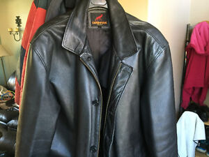 Men's large leather jacket, black