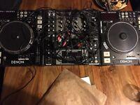 Pair of denon cd decks and denon mixer
