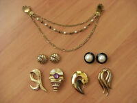 4 Brooches, 2 sets of Earrings and a  Woman's Jacket Holder